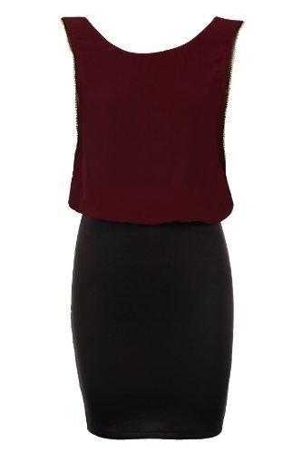 Sapphire Damen Goldrand Uni Schwarz Chiffon Damen Figurbetont Stretch Kurzes Kleid 8-14 Rot - Weinfarben