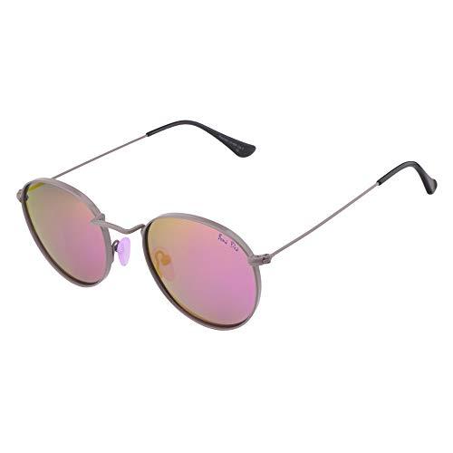 ActiveSol BONA DEA | Sonnenbrille Damen | Pinke Nasenpads- Neo Retro Style | Polarisiert | 100% UV-Schutz | Rund | 17 g (Anthracite/Lilac Mirror)