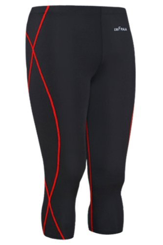 emFraa Men's Skin Tight Three Quarter Pants Compression Running Base layer