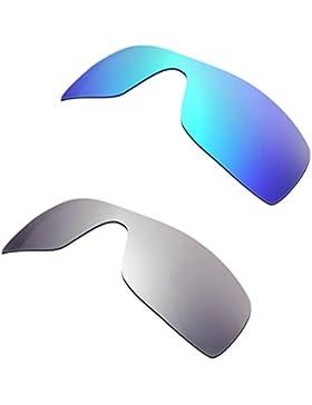 Hkuco Plus Mens Replacement Lenses For Oakley Batwolf Blue/Titanium Sunglasses