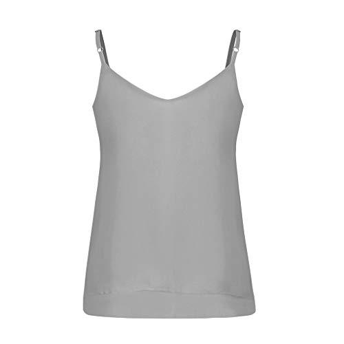Damen Ärmellose Bluse/Dorical Sommer Camisole Lose V-Ausschnitt Oberteile Elegant Weste Hemdbluse Casual fit T Shirt Bluse Tunika Tank Tops Vest für Frauen & Mutter S-XXL Reduziert(Grau,Medium)