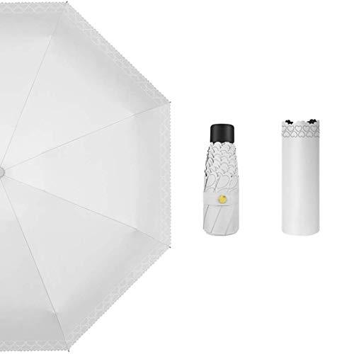 KISlink Sonnenschirm, weiblicher Sonnenschutz Super Light Small Rain UV-Schutz für Zwei Zwecke 50% Parasol Small Fresh Hollow Black Plastic Umbrella