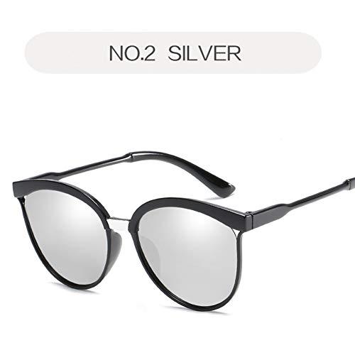 Taiyangcheng Weibliche Cat Eye Sonnenbrille Frauen Brille Sunglass Für Männer Frauen Sonnenbrille Spiegel,Silber