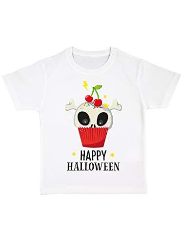 clothinx Kinder T-Shirt Bio Halloween Cupcake Weiß Größe (Cupcakes Halloween Kind)