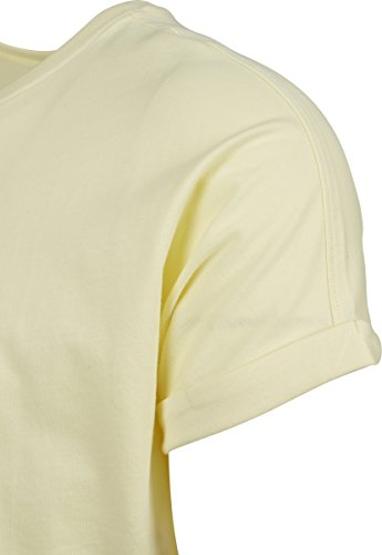 Urban Classics Herren T-Shirt Long Shaped Turnup Tee Gelb (Powder Yellow 01323)
