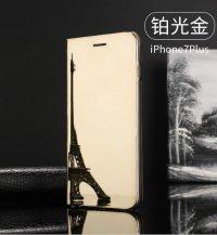 BCIT iPhone 6 Plus Spiegel Hülle - ultradünnen lichtdurchlässigen Spiegel für intelligente Abdeckung,PU Premium Lederhülle Hülle mit Standfunktion Flip Case Schale Etui für iPhone 6 Plus - Silber Gold