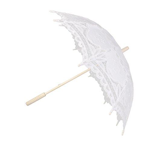 Sombrillas De Encaje De Algod¨®n Hechos A Mano Paraguas Partido De La Boda De Novia Blanco Vestido De Fiesta
