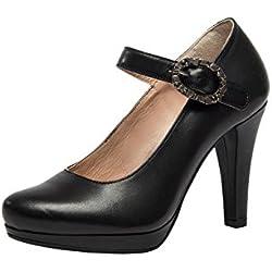Stockerpoint Damen Schuh 6010 Riemchenpumps, Schwarz (Nappa), 40 EU