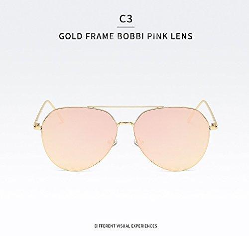 Yiph-Sunglass Sonnenbrillen Mode Driving Glasses Klassische Sonnenbrille Big Frame Große Sonnenbrille Goggles UV400 Spiegel für Mann Frau Unisex Pilot Sonnenbrille (Color : C3)