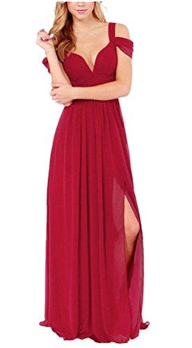 Ghope Damen V-Ausschnitt Lange Chiffon Abendkleider Festkleider Schulterfrei Cocktail Party Brautjungfernkleid Wein rot