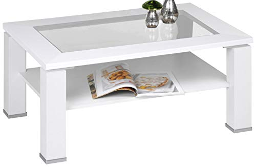 Alfa-Tische M2279 Table Basse Malte, 100 x 65 cm avec klarglaseinlage Blanc Décor