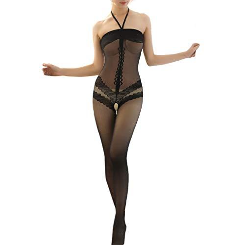 ODRD Damen Dessous Frauen Unterwäsche Sexy Netzstrümpfe mit offenem Schritt Body Stocking Bodysuit Nachtwäsche Dessous-Frauen Spitze Babydoll Set BH Sexy Body Nachtwäsche Erotik Lingerie Damenwäsche