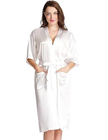Aibrou Femmes satinée peigBlanc longue long robe Chemise de nuit chambre kimono coquet et féminin nuisette confortable Satin un goût Japon (Blanc,M
