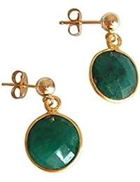 Gemshine - Damen - Ohrringe - 925 Silber - Vergoldet - Smaragd - Grün - CANDY - 2 cm