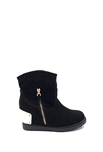 CHIC NANA Chaussure femme botte compensée en effet daim, fourrure synthétique tour de cheville.
