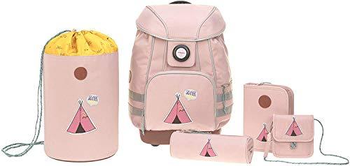 LÄSSIG Schulranzen Set mit Sporttasche, Federmäppchen, Stiftemäppchen, Turnbeutel und Brustbeutel ab 6 Jahre/School Bag Set Adventure Tipi