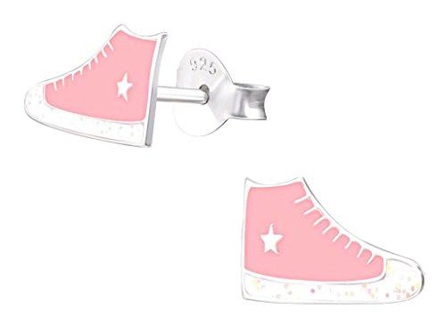 Laimons bambini bambini orecchini gioielli Sneaker Scarpe Rosa Stella in Argento Sterling 925
