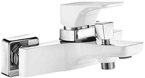 DEANTE Hiacynt Weiß Wannen Armatur Einhand Wannenbatterie Einhebelmischer Brause Aufputz ohne Duschset Luxusmall