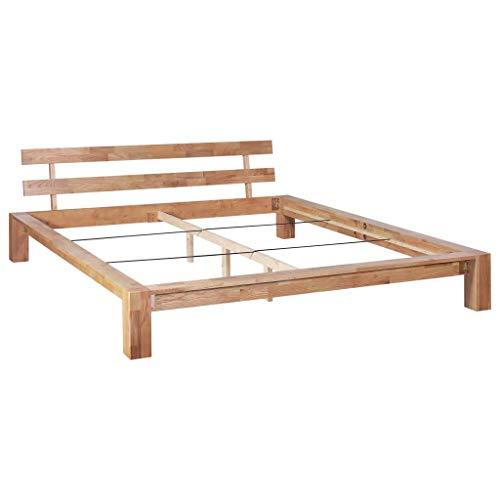 Festnight- Bettgestell Seniorenbett erhöhtes Bett Holz Massivholzbett Futonbett Bett Holz Holzbett Massivholz Eiche für Matratzengröße 180 x 200 cm