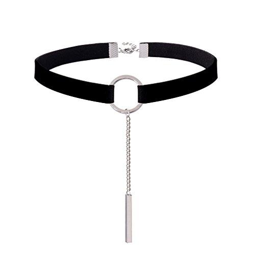 Jane-Stone-Damen-Halskette-schwarz-Choker-Kette-mit-silberfarben-Ring-und-Schild-Kette-aus-Samt-und-Metalllegierung