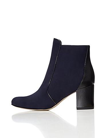 FIND Women's Heeled Ankle Boots, Blue (Navy/Black), 5 UK