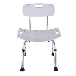 Badehocker Aus Aluminium, Badstuhl, Badbank Mit Rückenlehne, Höhenverstellbarer Badhocker, Für Ältere Schwangere