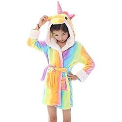 Tooplab Albornoz De Dormir con Capucha De Lana Bata De Baño Lujosa Bata Suave para Niños Unicornio Ropa Bata Calentar Ropa De Dormir Cómoda Lindo Loungewear