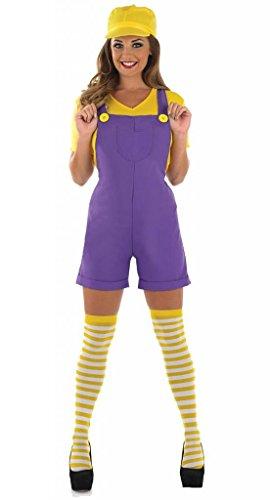 Damen Mario Luigi oder Wario Klempner Cartoon 1980s Halloween Kostüm Kleid Outfit UK 8-30 Übergröße - Lila, (Wario Kostüm Hut)