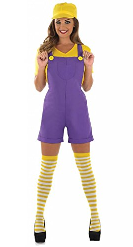 Damen Mario Luigi oder Wario Klempner Cartoon 1980s Halloween Kostüm Kleid Outfit UK 8-30 Übergröße - Lila, (1980's Kostüm)