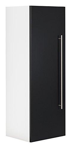 Black Hochschrank (emotion Hochschrank Santini 100cm Weiss matt mit Tür schwarz seidenglanz)