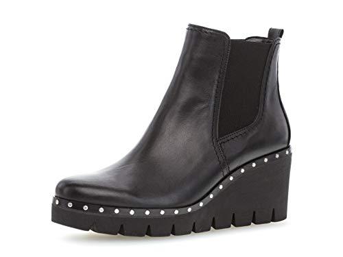 Gabor Damen Keilstiefeletten 34.785, Frauen Stiefelette,Stiefel,Boots,Halbstiefel,Wedge-Bootie,hoch,schwarz (Nieten),42 EU / 8 UK