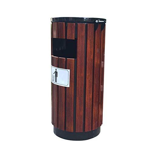 Zhangmeiren Outdoor Stahl Holz Mülleimer Massivholz große Hygiene Outdoor Mülleimer Park rundes Fass Speicherrohr - Park Schlafzimmer