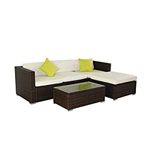 31XEk21PpTL. SS300  - Evre Rattan Furniture Set for In/Outdoors - Sofa & Table & Ottoman - Brown