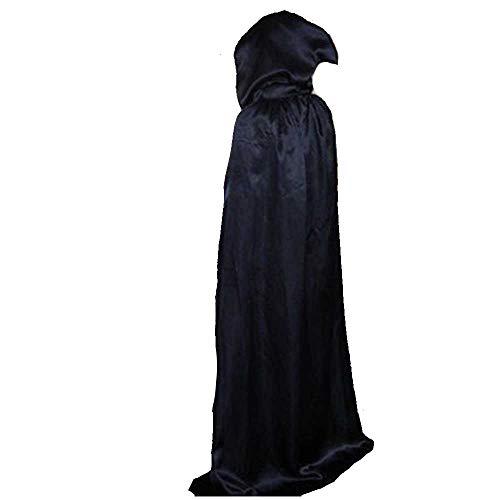 Heidnisches Ritual Kostüm - GNSDA Halloween Schwarzer Umhang, Halloween Cape Ganzkörperansicht Mittelalterlicher Kapuzenumhang Kostümparty Cosplay Ausgefallene Weiche Langlebige, Toten Sensenmann Kostüme Umhänge