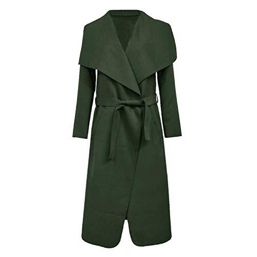 Higland Fashion Frauen italienisches Design Lange Ärmel Gürtel Staubtuch Trench Wasserfall Langen Mantel  (One Size = (8-14), Khaki) - Lange Ärmel-duster