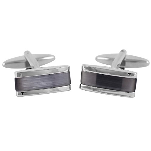 Lindenmann Cufflinks/Cuff Buttons, Silvery with Cats-Eye Anthracite, Gift Box, 10027