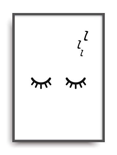Moderner Vintage Poster Druck SLEEPY EYES Fine Art Kunstdruck Deko Bild Print Plakat DIN A4 Geschenk