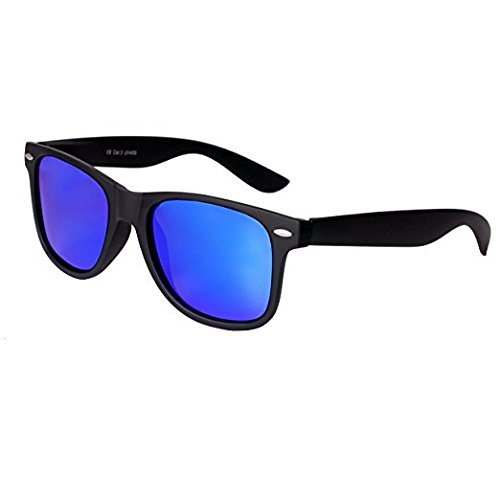 Hochwertige Nerd Sonnenbrille Rubber im Wayfarer Stil Retro Vintage Unisex Brille mit Federscharnier - 96 verschiedene Farben/Modelle wählbar (Schwarz - Blau verspiegelt)