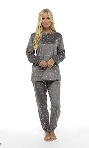 Pijama Mujer Invierno Suave Cómodo con Plumas Prosecco Estrellas Vario Estilos Pijamas Invernal Regalo para Ella (Gris Estrellas, L)