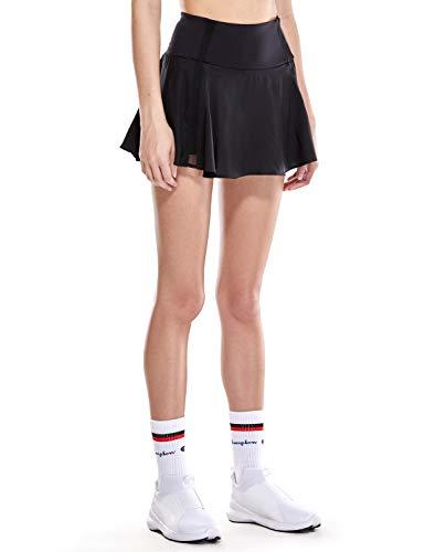 CRZ YOGA Damen Tennisrock Skirt Sportrock Sport Fitness Yoga Short Falten Schwarz L(42)