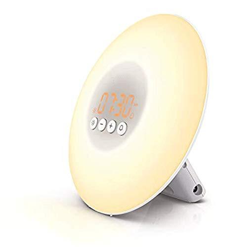 KIOio Despertador de luz de Despertador, Simulación de Salida del Sol, Despertador Natural de Despertador de la lámpara de cabecera