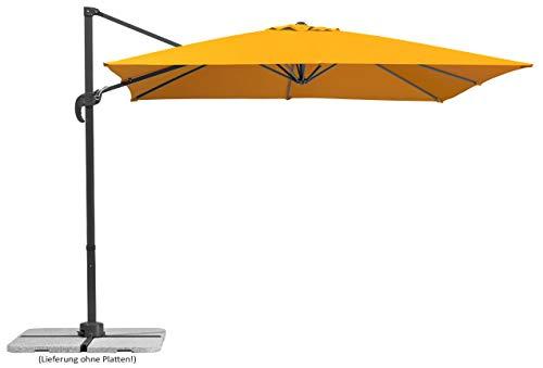 Schneider Sonnenschirm Rhodos Junior, Orange (mandarine), 270x270 cm quadratisch, Gestell Aluminium/Stahl, Bespannung Polyester, 18 kg