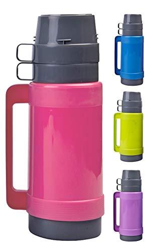 1 Liter Thermoskanne mit 2 Tassen & Zuckerbehälter, mit Glaseinsatz, Grün, Blau, Pink oder Lila, Farbe:Pink