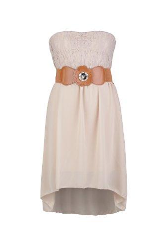 Apparel Outlet - Robe bandeau avec ceinture nœud - Gigi - Femme Beige