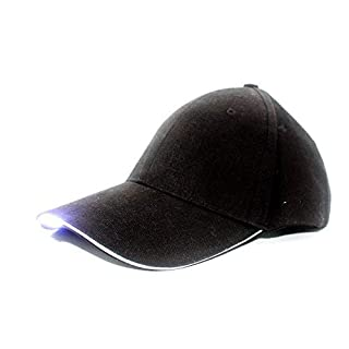 Acmee Black Baseball Cap with LED Light for Fishing or Sports at Night