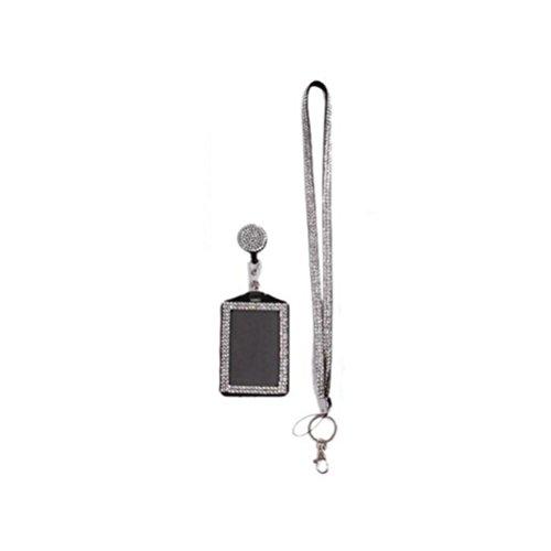 NUOLUX Abzeichen Halter Strass Lanyard Bling Crystal Halskette Abzeichen Kartenhalter für Business Id Schlüssel (weiß)