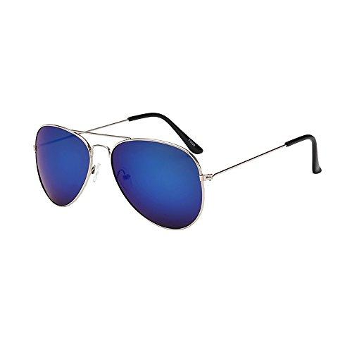 KUDICO Sonnenbrille Unisex Flieger Metallrahmen Verspiegelt Linse Reflektierende Spiegel Objektiv Pilotenbrille UV400 Schutz(M, One Size)