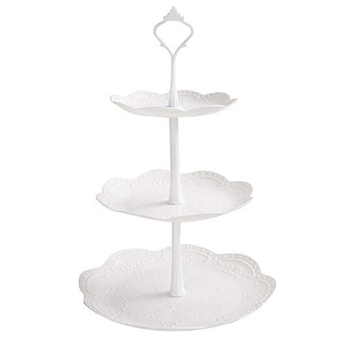 MSYOU - Soporte de 3 niveles para cupcakes, redondo, apilado, expositor de magdalenas de plástico para bodas, cumpleaños, Halloween, Navidad (blanco), plástico, blanco, 26cm*40cm