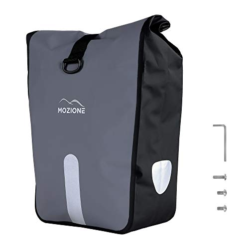 Mozione® Gepäckträgertasche mit Tragegriff (24-33L) Hinterradtasche Wasserdicht Grau