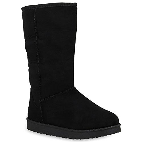 Damen Schuhe Schlupfstiefel Warm Gefütterte Stiefel Profil Winter Boots 153172 Schwarz Brooklyn 38 Flandell